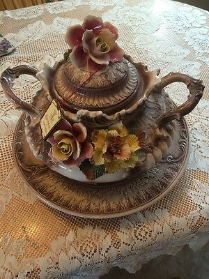 Capodimonte Tureen with Plate Made in Italy