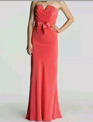 d11460fb0b1e Ted Baker London NEW CASSII Strapless Coral Silk Maxi Corset Dress Sz3 US8  NWOT