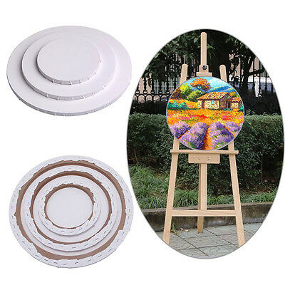 Round Blank Artist Canvas Board Wood Frame Oil Acrylic Painting
