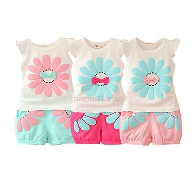 2Pcs/set Toddler Kid Baby Girls Flower T-shirt Tops+Shorts Pants Outfits Clothes