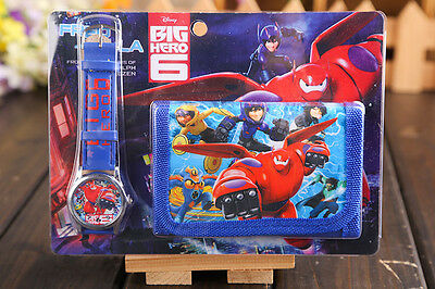 Lot New Big Hero 6 Faux Leather Quartz Watches and Wallet Sets Party Gifts T79