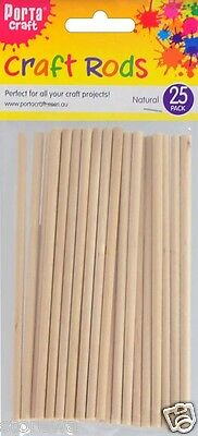 * Porta Craft * Wooden Craft Rods 25 Pack Natural