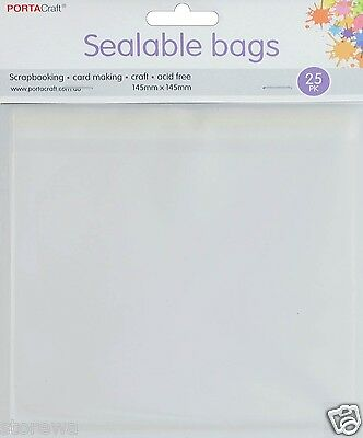 * PORTA CRAFT * Sealable Bags 25 Pack 145mm x 145mm