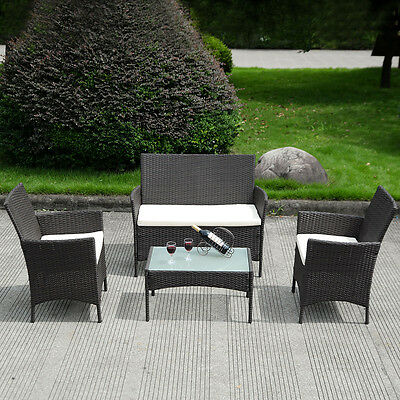 4 PC Patio Rattan Wicker Chair Sofa Table Set Outdoor Garden Furniture Cushioned