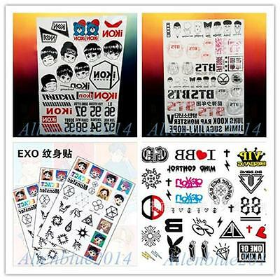KPOP BTS EXO IKON BIG BANG G-DRAGON Waterproof Temporary Tattoo Sticker 1Pcs Neu