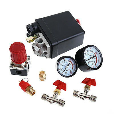 Air Compressor Pressure Valve Switch Manifold Relief Regulator Gauges 120PSI