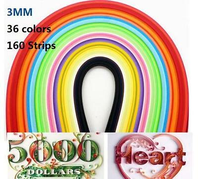 DZ1208 Quilling Paper 3mm*390mm Mixed Origami Paper craft 160 Strips 36 Colors ♫