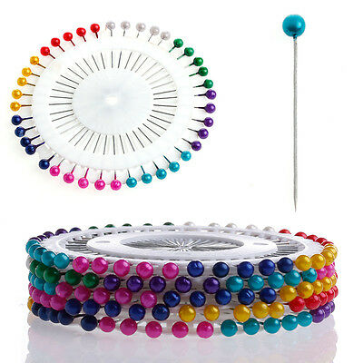 Multi 200Pcs Colour Round-Head Faux Pearl Dressmaking Sewing Decorating Pin Hot