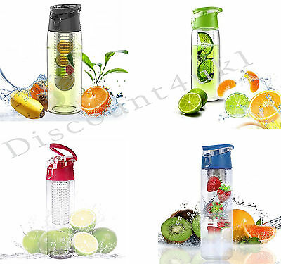 Fruit Infusion Infusing Infuser Water Bottle Sports Gym Running Fit Spout 800Ml