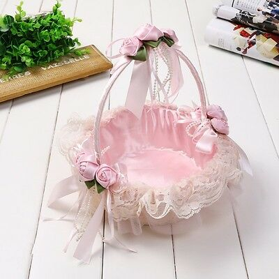Lace Rose Bowknot Pearl Flower Girl Basket Romantic Wedding Party Accessory NEW