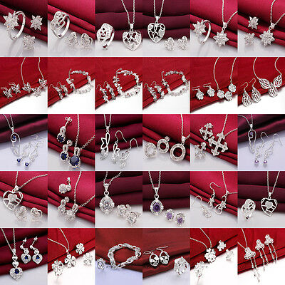 Womens Jewelry Solid Silver Lady Sets Necklace/Bracelet/Ring/Earrings SC925