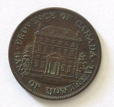 1844 Canada Bank of Montreal Sou (1/2 Penny) ; Copper *XF*