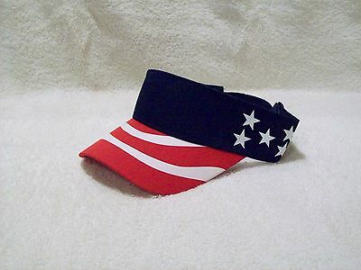 d4277068b13 New Navy Blue Us Flag Patriotic Cotton Sun Fishing Golf Visor Hat Sun Cap