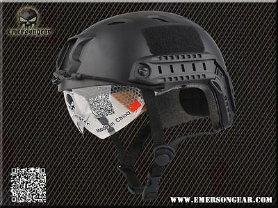 Airsoft Bj Type Ops Fast Base Jump Helmet + Visor Black Swat With Arc Rails