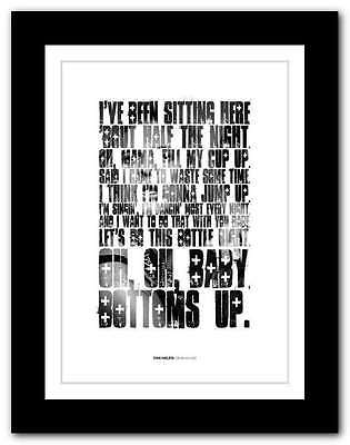 VAN HALEN - Bottoms Up ❤ typography quote poster art limited edition print #82