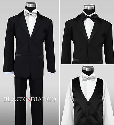Boy Wedding Black Tuxedo for Kids of All Ages Extra Silver Bow Tie