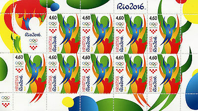 Croatia 2016 MNH Olympic Summer Games Rio 2016 9v M/S Olympics Sports Stamps