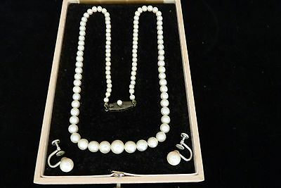 """Japanese Akoya Cultured Graduated White Pearl Necklace 18"""" Long, Silver Clasp"""