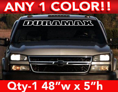 """CHEVY """" DURAMAX """" DIESEL OUTLINE WINDSHIELD DECAL STICKER 48""""w x5""""h Any 1 Color"""