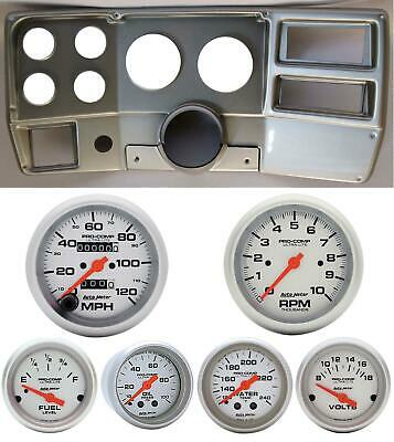 84-87 Chevy Truck Silver Dash Carrier w/ Auto Meter Ultra Lite Mechanical Gauges