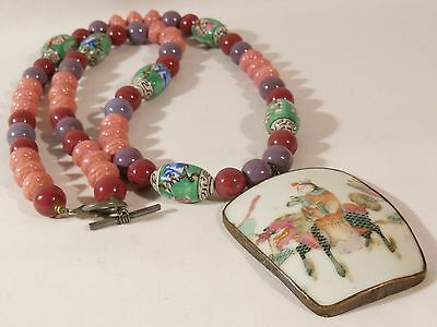 Vtg Chinese Porcelain Shard Pendant Necklace Girl Holding Doll on Kilin