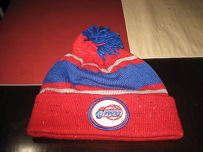 556608aeefe Mitchell   Ness La Los Angeles Clippers Speckled Cuff Pom Beanie Red blue  Nwt