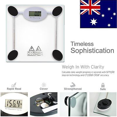 New LCD Glass Electronic Digital Bathroom Body Scale Weight Control 180kg