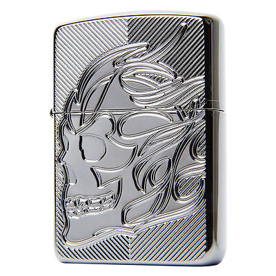 Zippo 29230 SKULL Armor Lighters Black Ice Chrome GENUINE and ORIGINAL Packing
