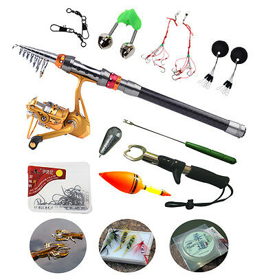 Travel Telescopic Fishing Rod and Reel Tackle Set with 12 Accessories Combos