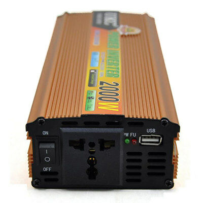 1x High-power 12V Boost to 220V 2000W Modified Sine Wave Car Power Inverter