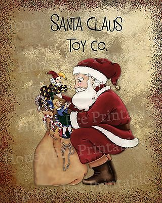 Primitive St Nick Santa Claus Toy Co Christmas Holiday Folk Art PRINT ONLY 8x10