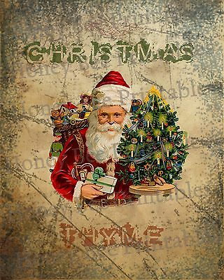 Primitive Distressed Christmas Thyme Vintage Santa Claus Folk Art PRINT 8x10