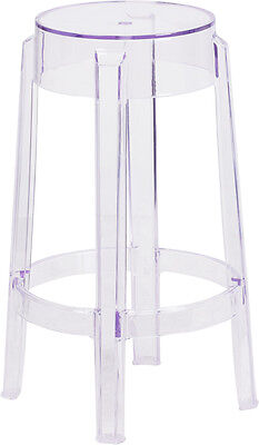 25.75'' High Crystal Clear Transparent Backless Design Counter Height Barstool