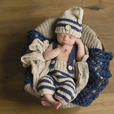 Newborn Baby Photography Props Infant Knit Crochet Costume Striped Soft Outfits