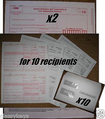 2016 IRS TAX FORMS KIT:: 1099-MISC Laser for 10 recipients + 10 envelopes + 1096