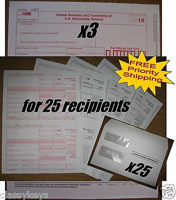 2016 IRS TAX FORMS KIT:: 1099-MISC Laser for 25 recipients + 25 envelopes + 1096