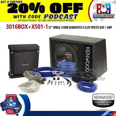 "Kenwood 3016Box 12"" 2000W Subwoofer Active Sub Amp Box Pack Kfc-Ps3016W X501-1"