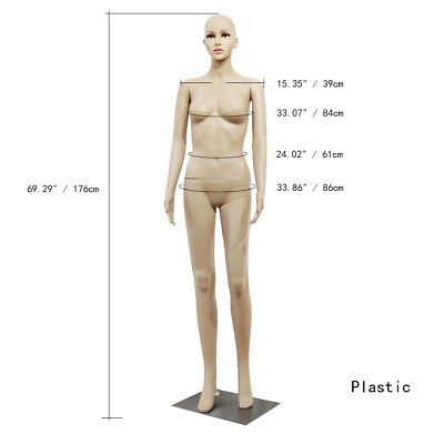 New Female Mannequin Plastic Realistic Display Head Turns Full Dress Form w/Base