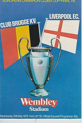 Brugge V Liverpool ~ European Cup Final ~ 10 May 1978 ~ Very Good Condition