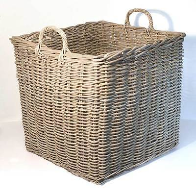 Fireside Square Wicker Log Toy Basket - Extra Large, Grey