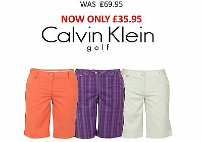 50% OFF New Calvin Klein Stripe Check Shorts Ladies Womens Golf Short Trousers
