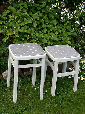 Set of 2 Vintage Stools  Wooden   Retro Refurbished  Excellent Condition