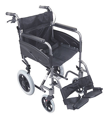 Aidapt Folding Compact Aluminium Transport Wheelchair With Attendent Brakes