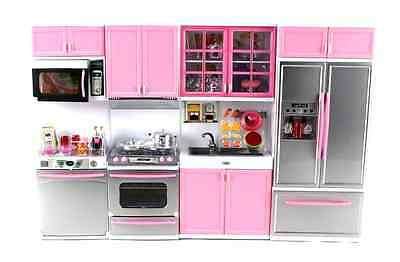 Deluxe Modern Kitchen Battery Operated Toy Kitchen for Dolls Play set, Girls New