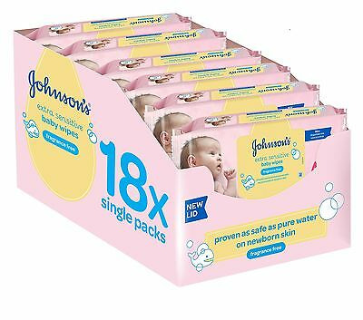 Johnson's Baby Extra Sensitive Fragrance Free Wipes - Pack of 18 1008 Wipes