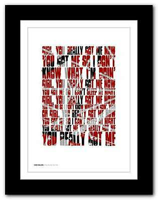VAN HALEN You Really Got Me ❤ typography quote poster limited edition print #101