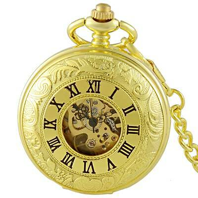 Vintage Mechanical Pocket Watch Steampunk Retro Antique Skeleton Mens Xmas Gift