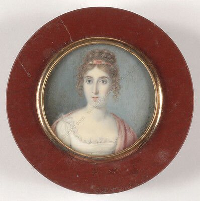 "Bianca Boni (active early 19th Century) ""Portrait of a young lady"", miniature"