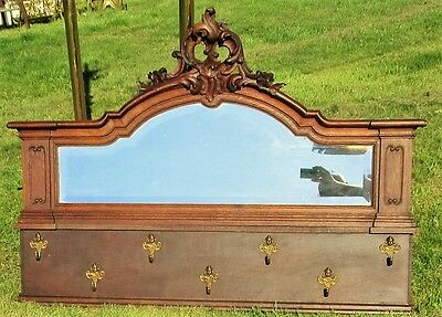 Antique Hand Carved Oak Flower Coat Hat Rack Beveled Mirror Wood Large