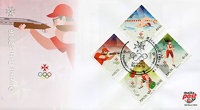 Malta 2016 FDC Olympic Summer Games Rio 2016 4v Cover Swimming Olympics Stamps
